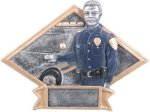 Police Officer - Diamond Plate Resin Trophy Patriotic Awards